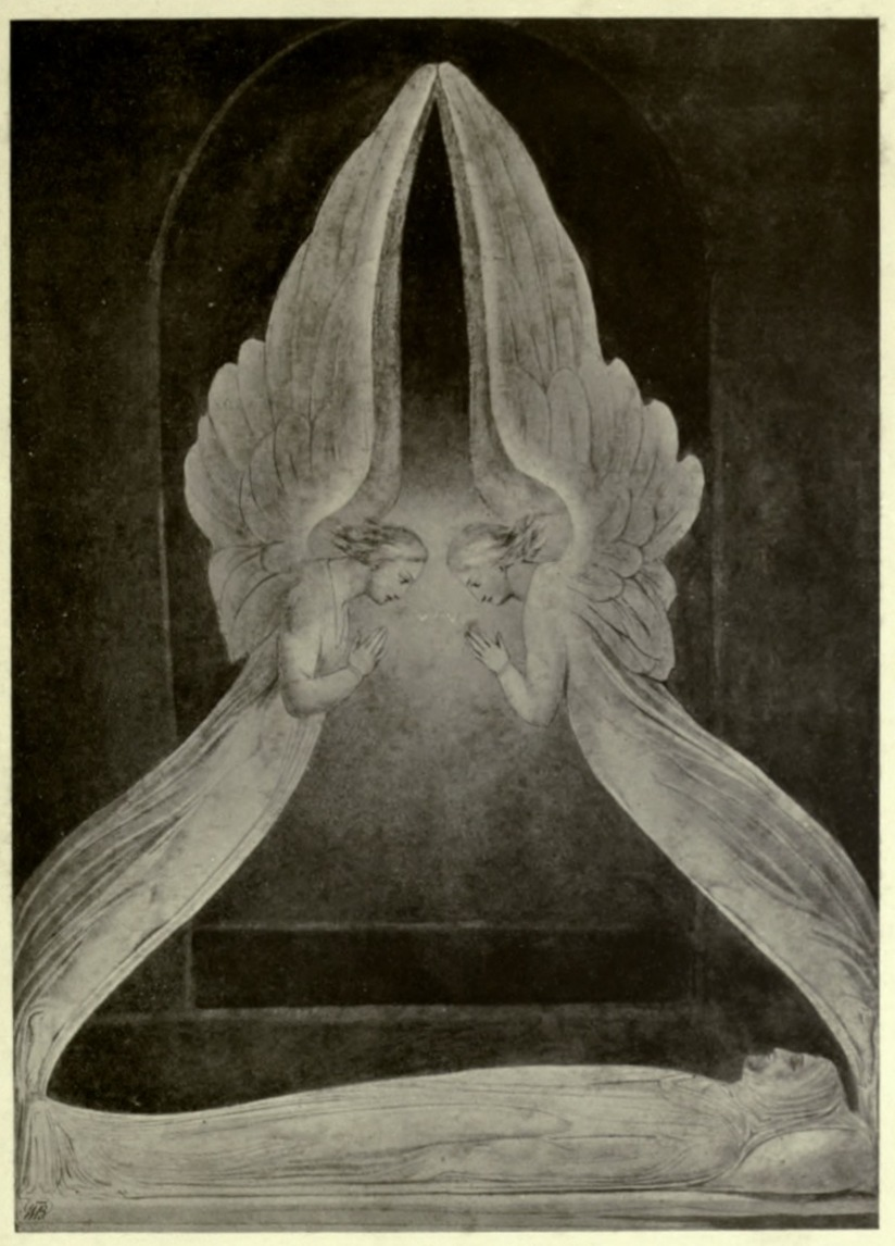 Angels hovering over the body of Jesus (William Blake)